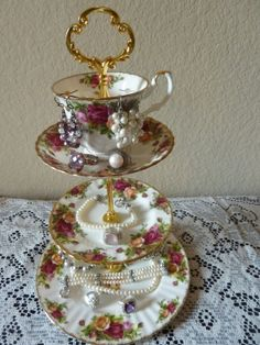 Vintage Royal Albert Old Country Roses China 3 Tier Tea Cup/Plates Dessert/Jewelry Stand Custom Made
