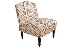 Clark Slipper Chair, Brown/Cream on OneKingsLane.com