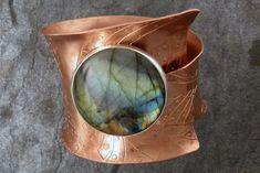 Cuff | Karen Joy. 'Tribal WOW'.  Etched Copper, Fine Silver, Laboradorite