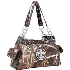 Dasein Fleur de Lis Realtree Camouflage Tote - Max4 Camouflage/Coffee... ($46) ❤ liked on Polyvore featuring bags, handbags, tote bags, brown, white leather tote bag, zip pouch, brown leather tote, leather zip pouch and brown leather tote bag