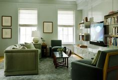 Sage green walls - a bit darker, furniture setup