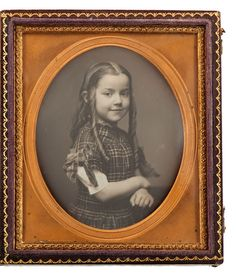 Fine Southern Daguerreotype of a Smiling Girl with impressive ringlets