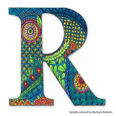 R Monogram Coloring Page by PaperScissorsRock on Etsy Madhubani Art, Madhubani Painting, Font Art, Typography Art, Alpha Art, Geometric Coloring Pages, Hand Drawing Reference, Mandala Doodle, Alphabet Wallpaper
