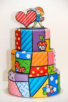 Patchwork Cake Cake Icing, Fondant Cakes, Cupcake Cakes, Patchwork Cake, Doodle Cake, Cake Designs For Kids, Tattoo Cake, 40th Birthday Cakes, Funny Cake