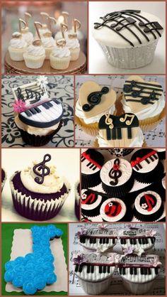 Music Note Themed Birthday Cupcake Ideas from HotRef.com