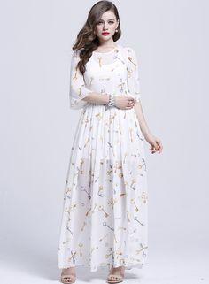 White Half Sleeve Floral Owl Print Pleated Dress $86.67