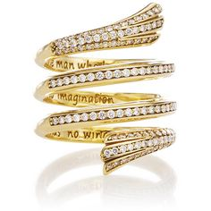 Monica Rich Kosann Diamond Pave Mercury Wrap Ring ($10,500) ❤ liked on Polyvore featuring jewelry, rings, wing jewelry, wrap jewelry, pave jewelry, 18 karat gold ring and 18 karat gold jewelry