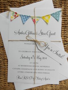 Bunting Wedding Invitation. 'Vintage Spring' by FromLeoniWithLove, £3.80