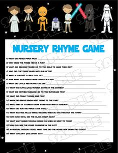 Starwars Baby Shower Games Star Wars Nursery Rhyme Game Printable INSTANT  DOWNLOAD UPrint By Greenmelonstudios Starwars Baby Shower