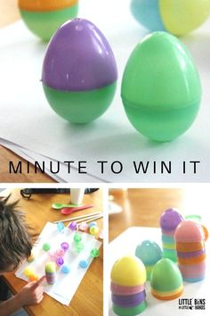 Stacking eggs and standing eggs challenges for Easter minute win it family games and classroom Easter party ideas. Easter party Easter Minute To Win It Games