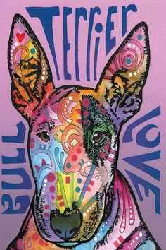 Bull Terrier Luv Canvas Wall Art by Dean Russo — iCanvas