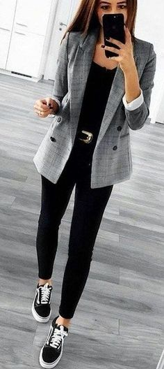 Business Casual Outfits For Work In The Office: Plaid Blazer Outfit With Sneaker. - - Business Casual Outfits For Work In The Office: Plaid Blazer Outfit With Sneakers Spring Outfit Women, Spring Outfits Classy, Winter Outfits For Work, Casual Winter Outfits, Outfits For Teens, Outfit Winter, Fall Outfits, Black Outfits, Summer Work Outfits Plus Size