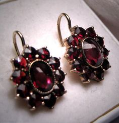 Antique Garnet Earrings Vintage Victorian by AawsombleiJewelry, $248.00