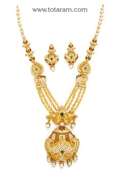 22K Gold 'Peacock' Long Necklace & Drop Earrings Set with Ruby,Emerald , Cz & South Sea Pearls - GS2810 - Indian Jewelry Designs from Totaram Jewelers