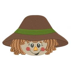Cute Scarecrow Boy Head Filled Machine Embroidery Digitized Design Pattern #thanksgiving #embdoidery #appliques #head