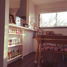 My Shelf/本棚/DIY/絵本棚/ディアウォール/端材消費...などのインテリア実例 - 2017-09-03 22:06:41 | RoomClip (ルームクリップ) Kitchen Bar Design, Kids And Parenting, Corner Desk, Baby Room, Living Spaces, Kids Room, Bookcase, Shelves, Interior Design