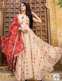 Excited to share this item from my shop: VeroniQ Trends - New designer Embroidered gown/Dress in Chanderi silk with Georgette Bandhani Dupatta-Indian,Ethinic,Jaipur. Indian Gowns Dresses, Pakistani Dresses, Punjabi Dress, Girls Dresses, Prom Dresses, Indian Attire, Indian Outfits, Indian Wear, Indian Designer Outfits