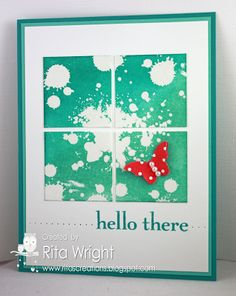 handmade greeting card ... Gorgeous Grunge ... green and white with a pop of red ... split panel design ... four squares in a 2X2 grid ... grunge embossed and then sponged ... like the basic layout ,,, Stampin' Up!
