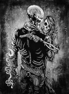 The skeleton badass and his lady love share an embrace after a wild gunfight…
