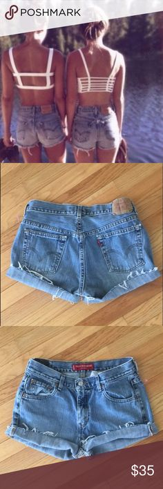 """Levi cutoffs Super cute vintage Levi cutoffs. High waisted. Will add rips if requested once purchased. Measurements: waist: 31"""", rise- 10"""", inseam- 4"""". Fit like a modern size 6 Levi's Shorts Jean Shorts"""