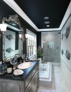 black ceiling bathroom - Google Search