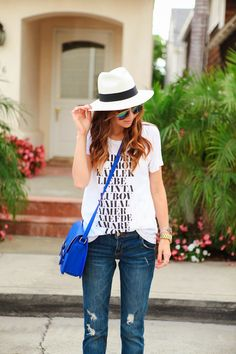 My t like this with a fedora and Jean shorts