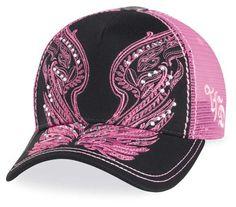 Harley Davidson motorcyle Womens pink angel wings hat with bling rhinestones Harley Davidson Purses, Harley Davidson Motorcycles, Lady Biker, Biker Girl, Biker Baby, House Of Harley, Harley Davidson Kleidung, Harley Gear, Biker Wear