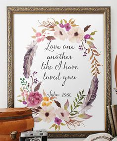 Bible verse printable Wedding Scripture art by TwoBrushesDesigns