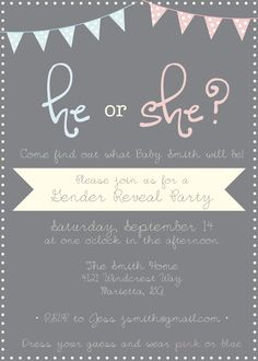 He or She? What will it be?  Pastel + Grey Gender Reveal Invitation via etsy
