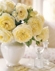 These pale yellow flowers in a white vase make for a lovely spring arrangement Yellow Cottage, Rose Cottage, Shabby Cottage, Fresh Flowers, Beautiful Flowers, Spring Flowers, Easter Flowers, Happy Flowers, Romantic Flowers