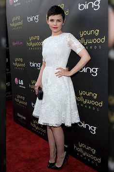 At the Young Hollywood Awards, Ginnifer Goodwin turned heads in a stark white Monique Lhuillier dress which she accessorized with Christian Louboutin studded pumps, Jennifer Meyer earrings and a studded Edie Parker clutch.