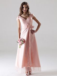 Ankle-length Organza Bridesmaid Dress - Pearl Pink Plus Sizes / Petite A-line V-neck - USD $69.99
