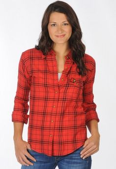 University of Louisville UL Cardinals Red and Black Boyfriend Fit Plaid Shirt -Front