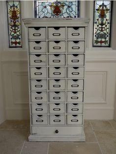 Habidashery Apothecary White shabby Chic multi drawer cabinet -
