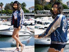 Look Jaqueta Bomber com Shorts Jeans e Flatform Metalizada