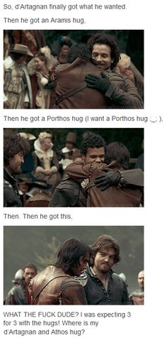 The Musketeers - 1x08 - The Challenge  I agree! I want my D'Artagnan and Athos hug too!