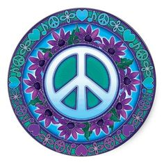 Sold! Many thanks to my customer in Couillet, Belgium! Flowery Peace Sign Round Sticker #stickers #peace #stationary