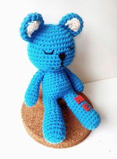 Handmade crochet personalized/monogrammed sleeping teddy bear by TheGreenHouse222 on Etsy