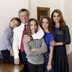 Greeting card new year 2013 of King Abdullah II (2L) and Queen Rania of Jordan (1R), (L-R) with prince Hashem, Princess Salma and Princess Iman. The crown prince Hussein, for the first time, posed separately (not pictured).