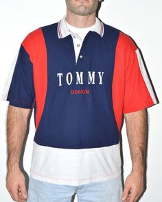 Vintage Tommy Hilfiger Polo Shirt Sz L #TommyHilfiger #ButtonFront