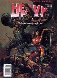 Heavy Metal Cover Jranuary 1997 by Simon Bisley Heavy Metal Movie, Heavy Metal Rock, Metal Fan, Simon Bisley, Metal Magazine, Magazine Art, Magazine Covers, Vaporwave Art, Metal Artwork