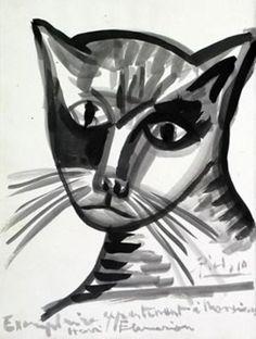 Pablo Picasso ~ Cat, 1942 - Watercolor dedicated to Monsieur Henri Flammarion