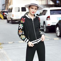 L- 5XL est Baseball Style Coat Zipper Jacket Flowers Detail Autumn Outwear