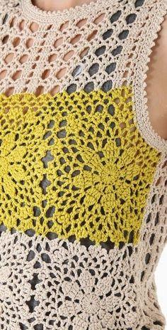 crochelinhasagulhas: Blusa em rosetas de crochê