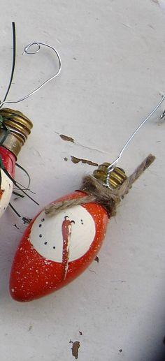 PRIMITIVE ORANGE Snowman Bulb Ornament from Vintage Christmas Lights with Snow Specks (Item # 4)