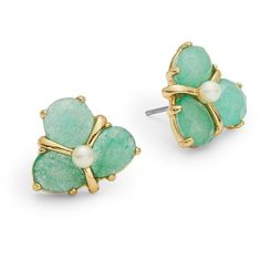 Kate Spade New York Crystal Cluster Stud Earrings ($48) ❤ liked on Polyvore featuring jewelry, earrings, green, green jewelry, kate spade jewelry, green earrings, floral jewelry and post earrings