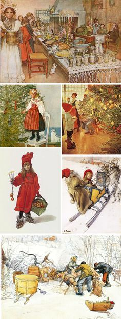 (all images by Carl Larsson) * tracklist: The Snowman // story by Raymond Briggs, words and music by Howard Bla. Swedish Christmas, Scandinavian Christmas, Christmas Christmas, Xmas, Christmas Illustration, Illustration Art, Happy Solstice, Winter Solstice, Carl Larsson