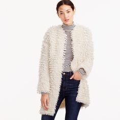 Collection loop cardigan sweater white J Crew