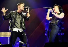 Demi Lovato and Nick Jonas performing Avalanche on stage at KIIS FM's Jingle Ball 2014 - December 5th