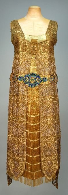 Egyptian Inspired Beaded Lace Evening Dress, 1923 Bradley's Chepstow Place Ltd. London